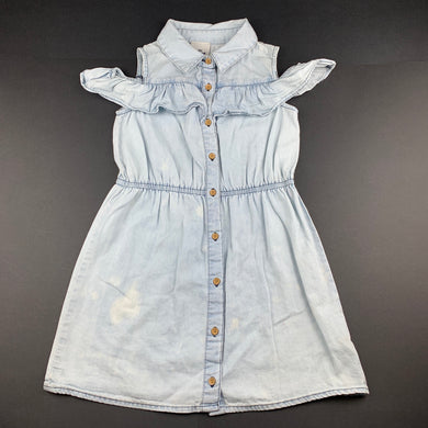 Girls 1964 Denim Co, blue chambray cotton shirt dress, FUC, size 6, L: 60cm approx
