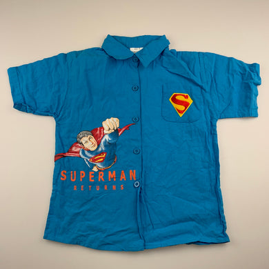 Boys blue, cotton short sleeve shirt, Superman, GUC, size 5,
