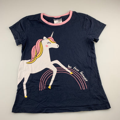 Girls Anko, cotton pyjama t-shirt top, unicorn, GUC, size 14,