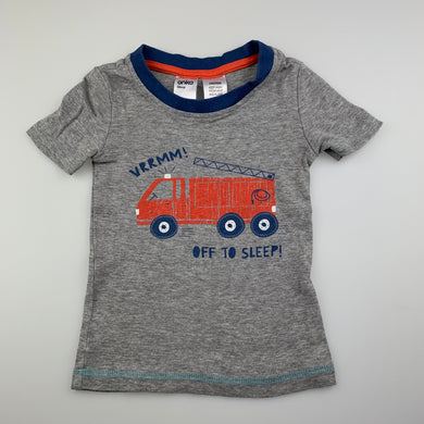 Boys Anko, grey pyjama t-shirt / top, fire engine, EUC, size 2,