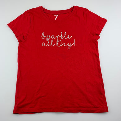 Girls B Collection, red cotton t-shirt / top, sparkle, GUC, size 7,