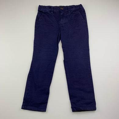 Boys Bardot Junior, navy stretch cotton chino pants, adjustable, inside leg: 45 cm, GUC, size 4,