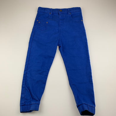 Boys Canifa, blue stretch casual pants, adjustable, inside leg: 42 cm, GUC, size 5-6,