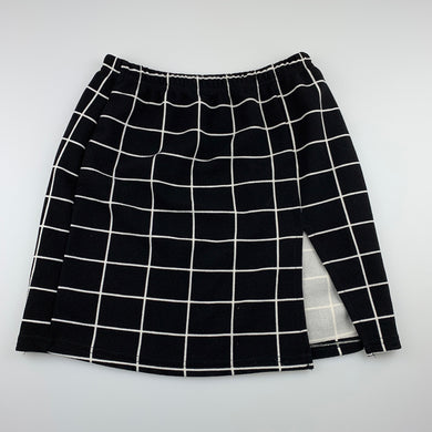 Girls Shein, black-and-white check lightweight skirt, elasticated, GUC, size 11-12,