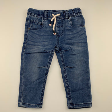 Boys Anko, stretch knit denim pants, elasticated, inside leg: 24 cm, EUC, size 1,