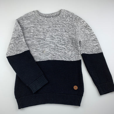 Boys Anko, black and grey knit cotton sweater, jumper, FUC, size 5,