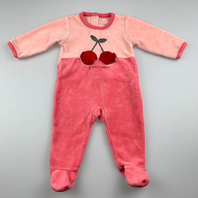 Girls Absorba, pink velour coverall / romper, EUC, size 000,