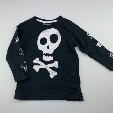 Boys B Collection, black cotton long sleeve top, skull, FUC, size 2,