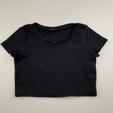 Girls Bardot Junior, black stretchy cropped top, EUC, size 8,