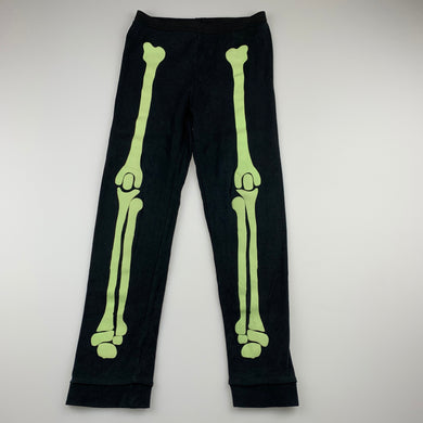 unisex Bed Bugs, black cotton pyjama pants, glow in dark skeleton, EUC, size 5,