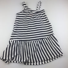 Load image into Gallery viewer, Girls Cotton On, navy & white stripe cotton sumer party dress, GUC, size 3