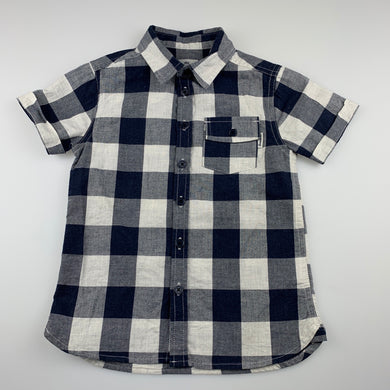 Boys 1964 Denim Co, blue check short-sleeved shirt, EUC, size 4,