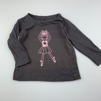 Girls Anko, grey cotton long sleeve top, ballerina, GUC, size 1,