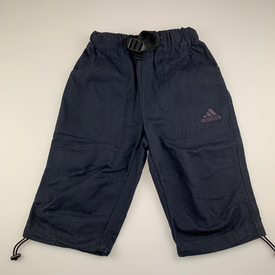 Boys Adidas, navy thick cotton long shorts, elasticated, inside leg: 25.5 cm, EUC, size 6,