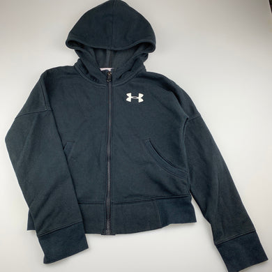 Girls Under Armour, fleece lined zip hoodie sweater top, wash faded, FUC, size 10-12,