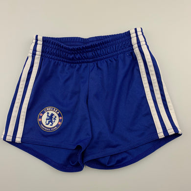 unisex Adidas, Chelsea FC sports, football shorts, elasticated, EUC, size 1,