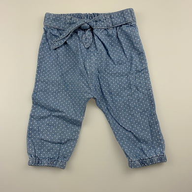 Girls Anko Baby, chambray cotton pants, elasticated, GUC, size 00,