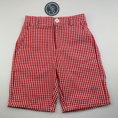 Boys Allegra & Harvey, red & white gingham seersucker shorts, elasticated, NEW, size 6,