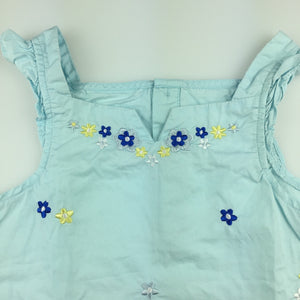 Girls Mom & Bab, blue cotton embroidered summer top, GUC, size 5