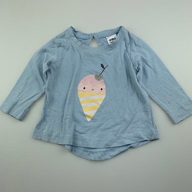 Girls Anko, blue cotton long sleeve top, FUC, size 000,