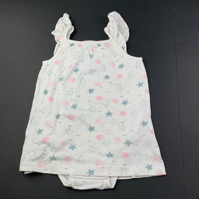 Girls Anko Baby, soft cotton romper dress, shells, EUC, size 1,