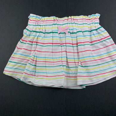 Girls Anko, striped cotton skirt, elasticated, EUC, size 1,