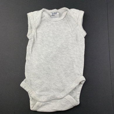 Girls Anko, grey pointelle singletsuit / romper, GUC, size 000,