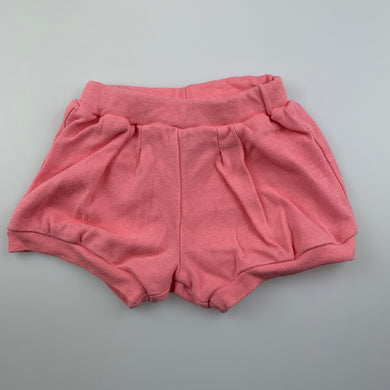 Girls 4 Baby, pink soft cotton shorts, elasticated, GUC, size 1,