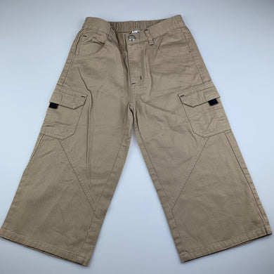unisex beige, stretch cotton cropped cargo pants, elasticated, Inside leg: 36cm, EUC, size 6,