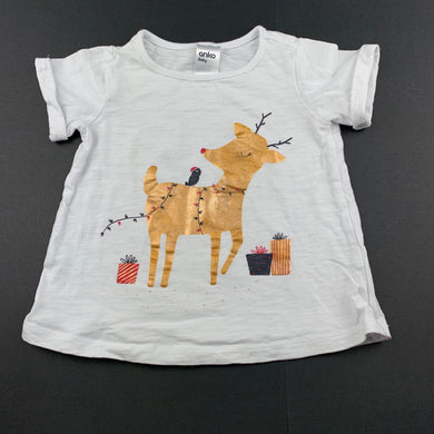 Girls Anko, white cotton t-shirt / top, reindeer, FUC, size 1,