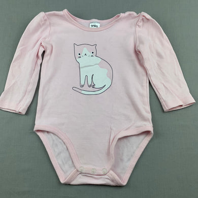 Girls Anko, pink cotton bodysuit / romper, cat, FUC, size 1,