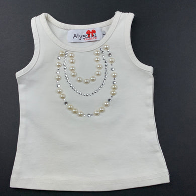 Girls Alyssia Couture, white cotton embellished top, light mark on front, FUC, size 1,