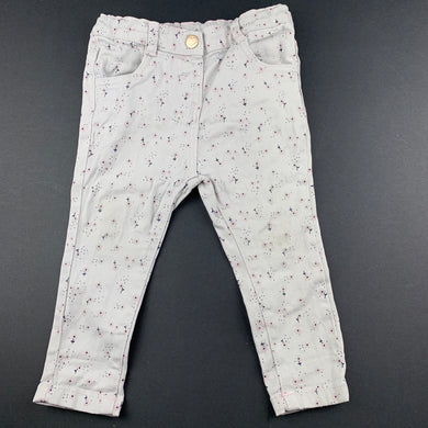 Girls Anko, floral stretch cotton pants, adjustable, FUC, size 0,