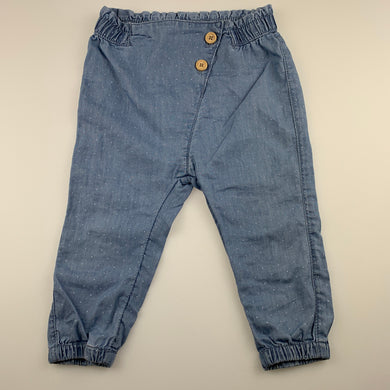 Girls Anko, lightweight chambray cotton pants, elasticated, GUC, size 1,