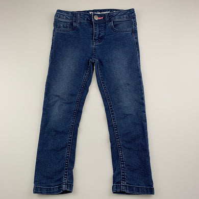 Girls 1964 Denim Co, blue stretch denim jeans, adjustable. Inside leg: 39cm, GUC, size 4,