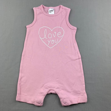Girls Anko, pink cotton romper, heart, GUC, size 00,
