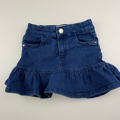Girls 1964 Denim Co, stretch knit denim skirt, elasticated, GUC, size 3,