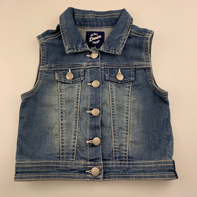 Girls 1964 Denim Co, blue stretch denim vest / jacket, FUC, size 4,