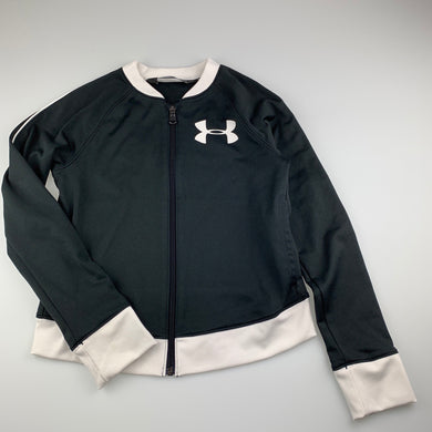 Girls Under Armour, black & white zip up top, light mark back left cuff, FUC, size 10-12,