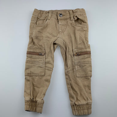 Boys Anko, beige cargo pants, adjustable, FUC, size 1,