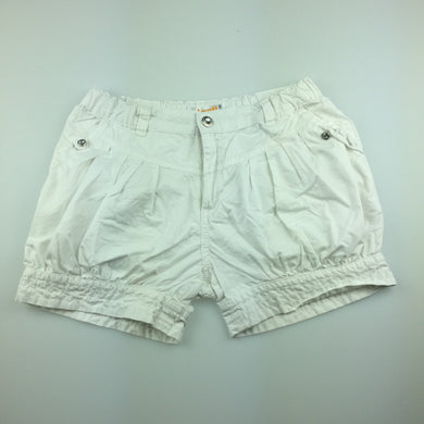 Girls Annil, cute white lightweight cotton shorts, adjustable, EUC, size 10
