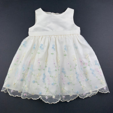 Girls American Princess, embroidered tulle party dress, light mark front bodice, armpit to armpit: 25cm, FUC, size 1-2, L: 44cm