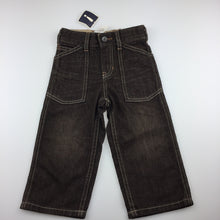 Load image into Gallery viewer, Boys Gap, dark brown denim pants, adjustable, NEW, size 2