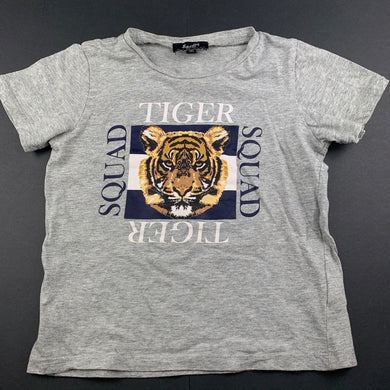 unisex Bardot Junior, grey cotton t-shirt / top, tiger, FUC, size 4,