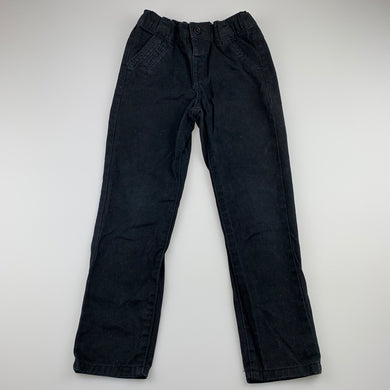 Boys Anko, black cotton casual pants, adjustable, Inside leg: 46cm, GUC, size 4,
