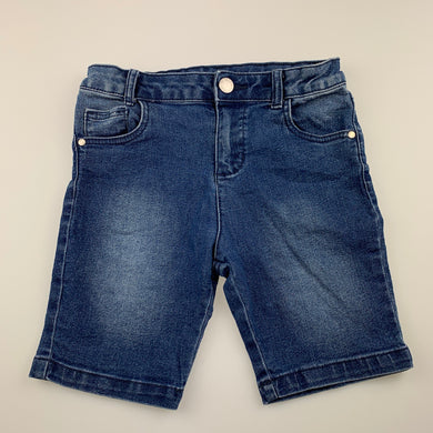 unisex 1964 Denim Co, blue stretch denim shorts, adjustable, GUC, size 7,