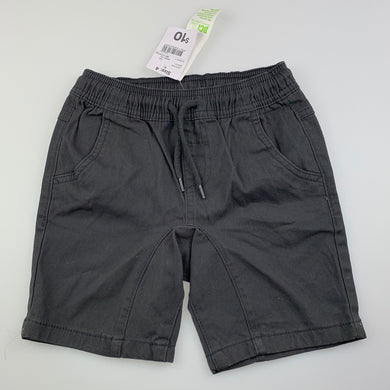 Boys Anko, grey stretch cotton shorts, elasticated, NEW, size 4,