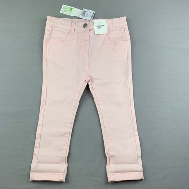 Girls Anko, pink stretch cotton pants, adjustable, Inside leg: 29.5cm, NEW, size 1,