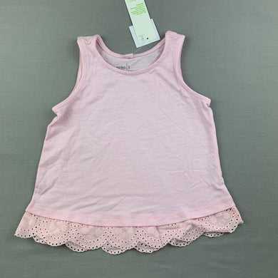 Girls Anko, pink cotton top, broderie trim, NEW, size 1,