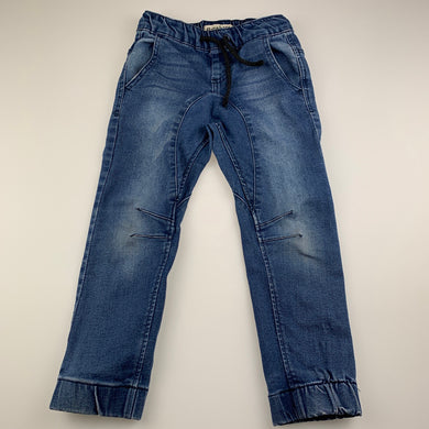 Boys Breakers, blue stretch denim pants, elasticated, FUC, size 4,